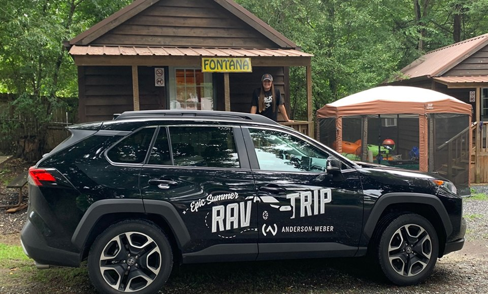 Anderson Weber Epic Rav4 Trip winner Ashley Botsford at campground in the Blue Ridge Mountains